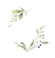 watercolor wreath green branches and vector image