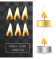 wax candle flame animation on transparent vector image vector image