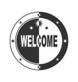 welcome stamp in black and white vector image