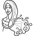 woman aquarius sign for coloring vector image vector image