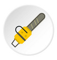 yellow chainsaw icon circle vector image vector image