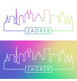 zagreb skyline colorful linear style editable vector image vector image