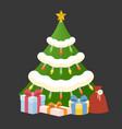 christmas tree with present box vector image