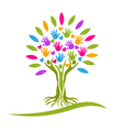 Tree people hands and hearts logo vector image