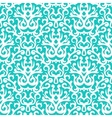 Damask pattern in white on turquoise vector image