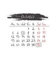 Handdrawn calendar October 2015 vector image