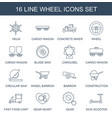 16 wheel icons vector image vector image