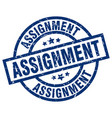 assignment blue round grunge stamp vector image vector image