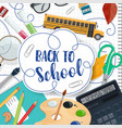back to school lettering and stationery poster vector image vector image