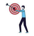 businessman holding target and arrow vector image