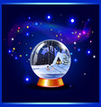 christmas or new year of snow crystal globe and vector image
