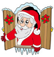 christmas window with santa claus vector image