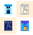 coffee machine icon set in flat and line styles vector image vector image