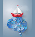 concept of leader vision and thinking paper boat vector image vector image