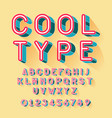 cool isometric font alphabet letters and numbers vector image