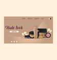 cosmetic landing web page beauty make up vector image