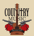country music emblem with guitar pistols and vector image vector image