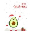 cute christmas avocado in santa hat new year vector image vector image
