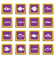 cute fish icons set purple vector image vector image