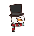 Cute snowman character isolated icon