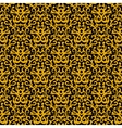 Damask pattern in gold on black vector image