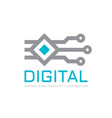 digital technology - logo icon template vector image