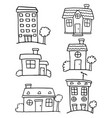 doodle of house set various hand draw vector image vector image