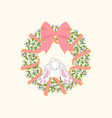 easter wreath and rabbit vector image vector image