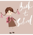 Girl with the school bag writes with chalk on a vector image vector image