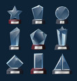 glass trophies awards prizes crystal win cups vector image