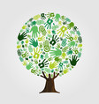 green hand print tree for nature concept vector image vector image