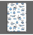 Greeting card with winter pattern vector image vector image