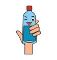hand with bottle water plastic kawaii character vector image