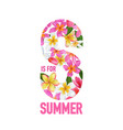 hello summer floral poster with plumeria flowers vector image vector image