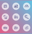 holiday icons line style set with gift delivery vector image
