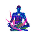 human body figure yoga and meditation in nature vector image