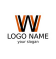 letter w black and orange colors simple logo vector image