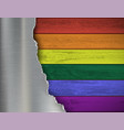 lgbtq rainbow flag under a torn metal plate vector image