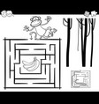 maze with monkey coloring page vector image vector image