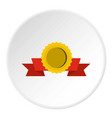 medal with ribbon icon circle vector image vector image