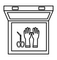 medical kit with gloves and surgical scissors vector image