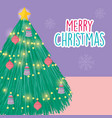 merry christmas celebration bright tree lights vector image vector image