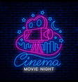 movie night bright neon sign vector image vector image