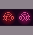 neon dj sign in red and pink color vector image
