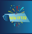 New offer isolated on blue background realistic