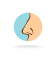 Nose silhouette in a round color symbol vector image