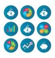 Piggy bank icons Dollar Euro Pound moneybox vector image