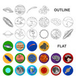 planets of the solar system flat icons in set vector image vector image