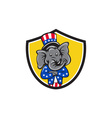 Republican Elephant Mascot Arms Crossed Shield vector image vector image