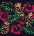 seamless color pattern with a tiki mask vector image vector image